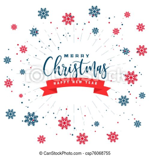 white christmas background with red black snowflakes - csp76068755