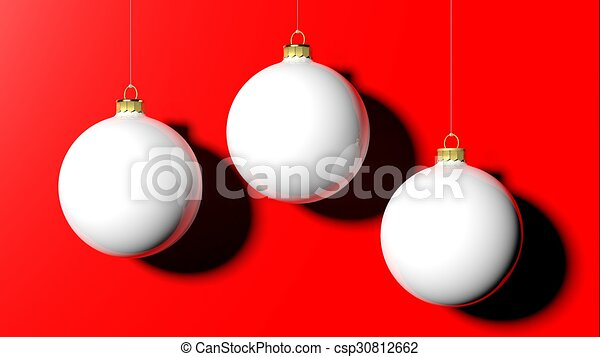 white christmas balls isolated on red background - White Christmas Balls