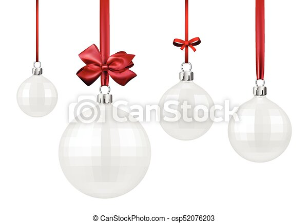 white christmas balls with red bow csp52076203 - White Christmas Balls