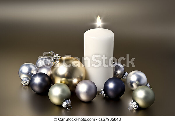 white christmas candle - csp7905848