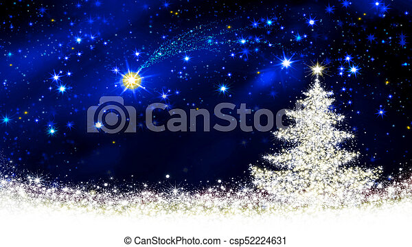 White Christmas Tree With Blue Lights.White Christmas Tree And Star Sky