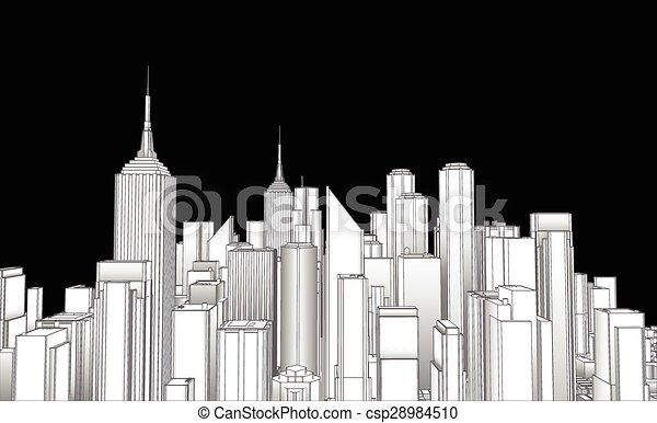 Line Art City : Paris city skyline black and white silhouette with clip art