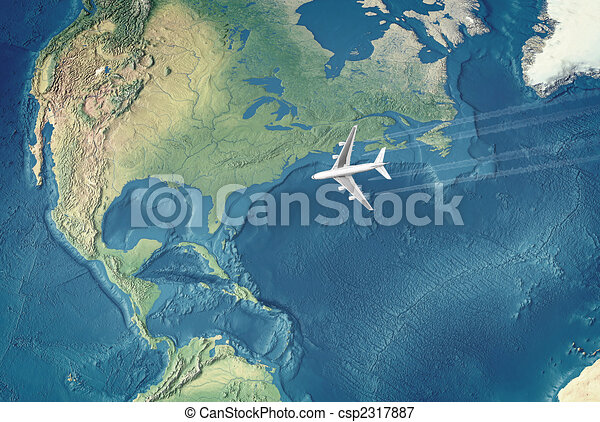 White Civil Airplane over the Atlantic ocean flying to the USA - csp2317887