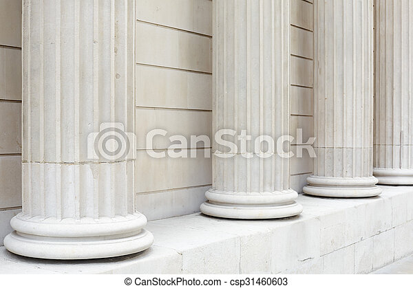 White classical columns background - csp31460603