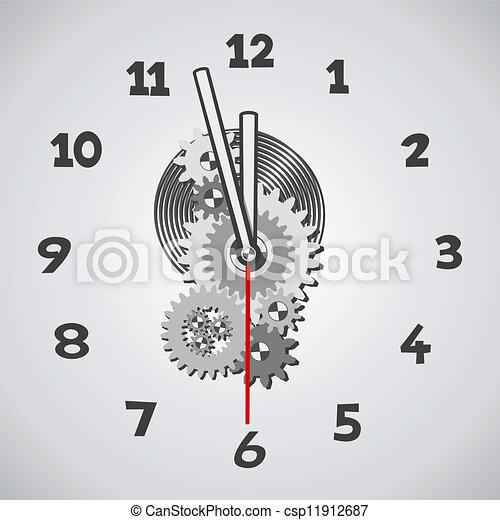 White clock. Five minutes to twelve - csp11912687