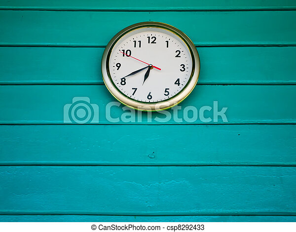 White clock on Green wall - csp8292433