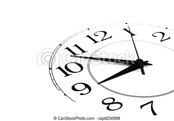 white clock showing time about nine isolated - csp9230898