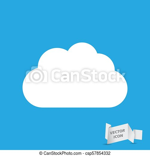 white cloud icon on a blue background - csp57854332