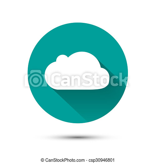 White cloud icon on green background with shadow - csp30946801