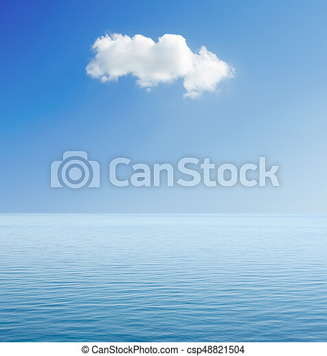 white cloud in blue sky over sea - csp48821504