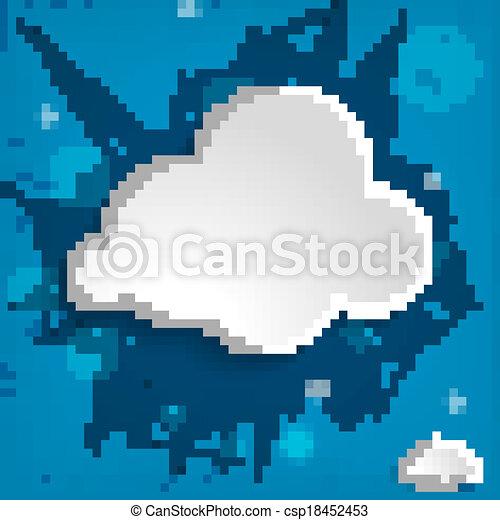 white cloud on a blue striped backg - csp18452453
