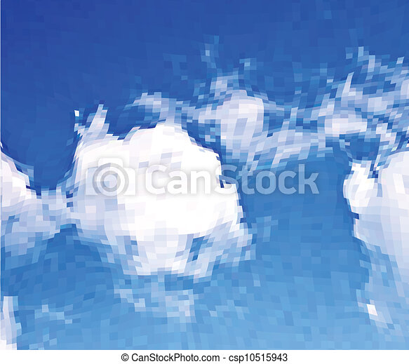 White clouds in the blue sky. Vector mosaic background - csp10515943