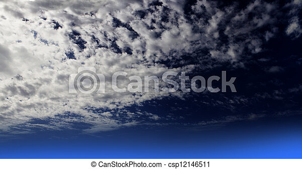 White clouds on Dark Blue sky - csp12146511