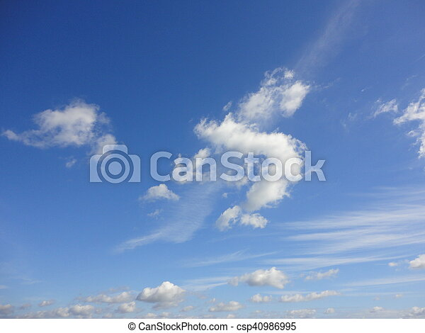 white clouds with blue sky - csp40986995