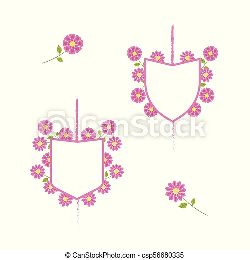 White coats of arms with pink border and pink delicate flowers o - csp56680335