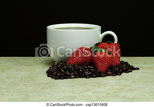 White Coffee Cup with Strawberries - csp13610408