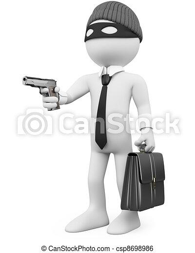 White-collar criminal with a gun - csp8698986