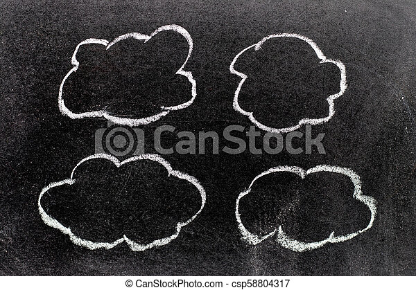 White color chalk hand drawing in cloud shape on blackboard background - csp58804317