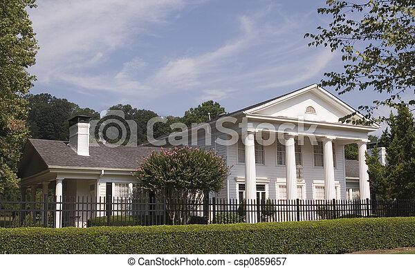 White Columns Iron Fence - csp0859657