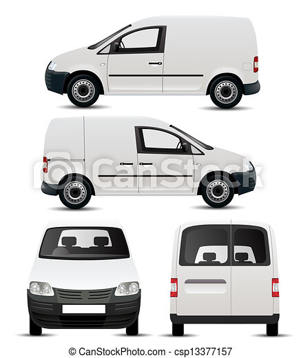 White Commercial Vehicle Mockup - csp13377157