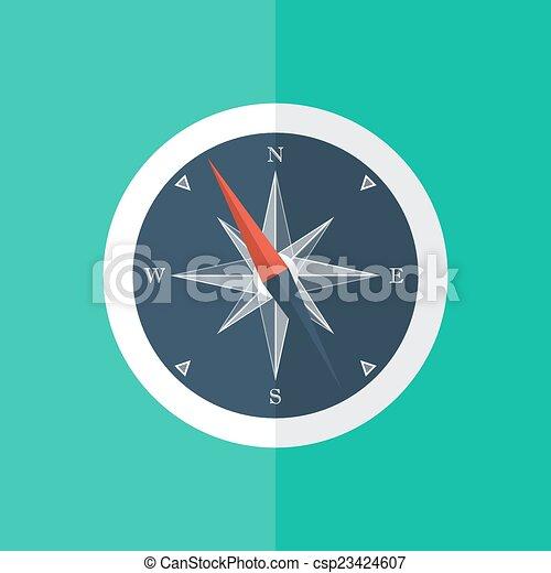White compass circle icon - csp23424607