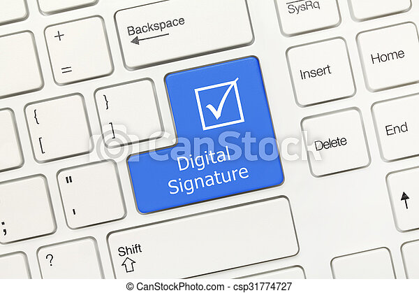 White conceptual keyboard - Digital Signature (blue key) - csp31774727