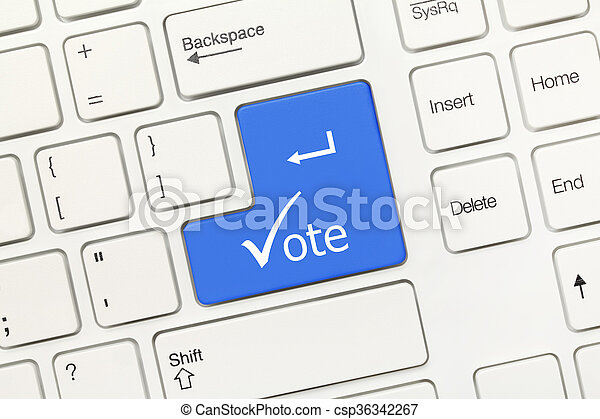 Close Up View On White Conceptual Keyboard Vote Blue Key Stock