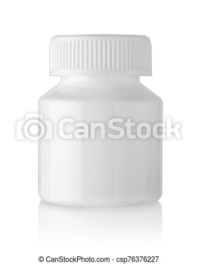 White container for pills isolated on white - csp76376227