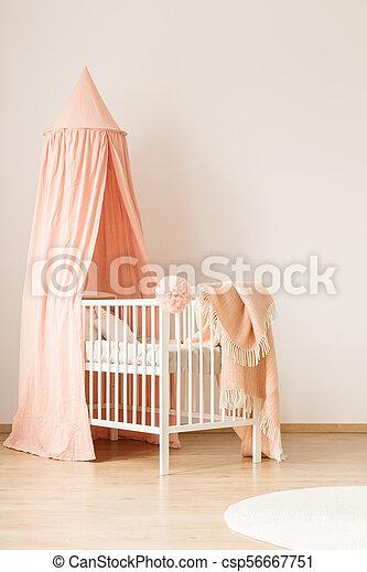 White crib by empty wall - csp56667751