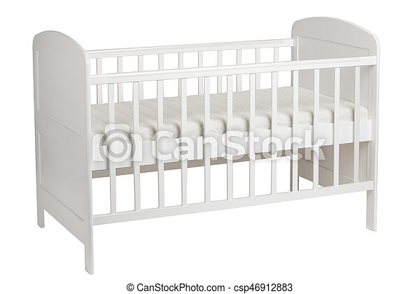 White crib for kids isolated on white background - csp46912883