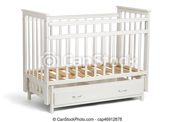 White crib for kids without mattress - csp46912878