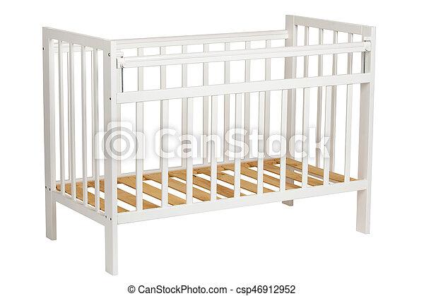 White crib for kids without mattress - csp46912952