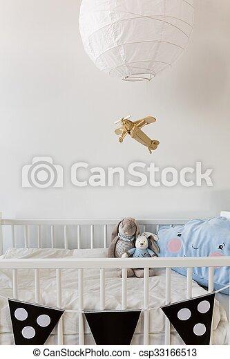 White crib for newborn baby - csp33166513