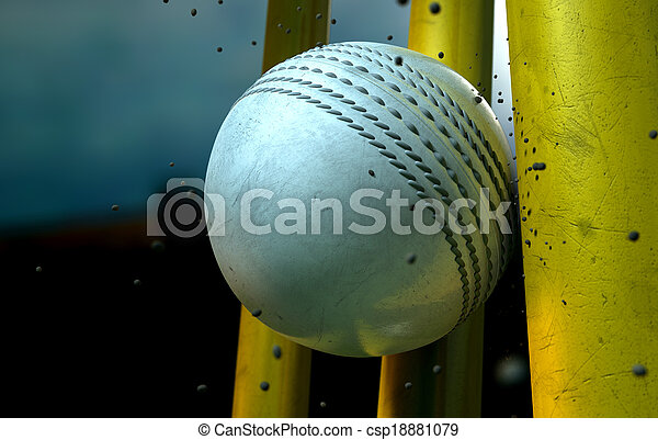 White Cricket Ball And Wickets - csp18881079