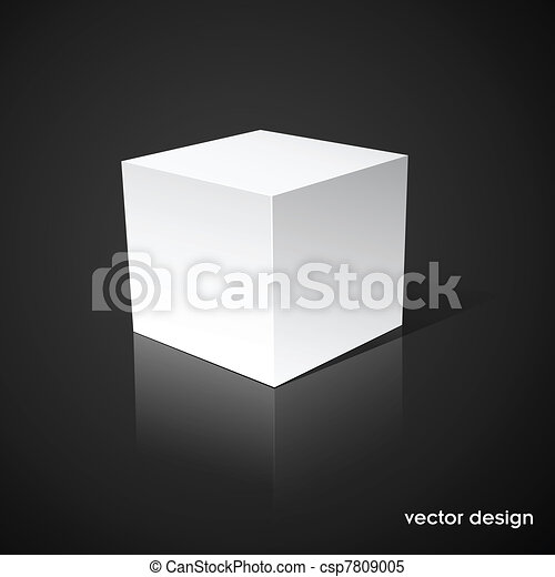 White cube on a black background - csp7809005