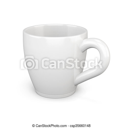 White cup isolated on white background. 3d rendering - csp35660148