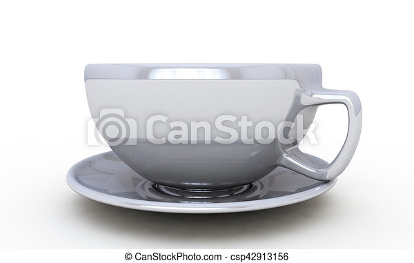 White cup isolated on white background 3d render - csp42913156