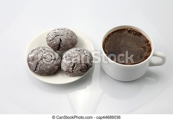 white Cup of black coffee with biscuits on white background - csp44686036