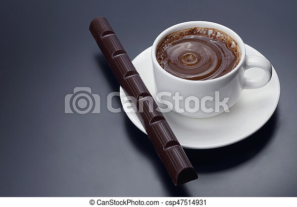 white Cup of black coffee with chocolate - csp47514931