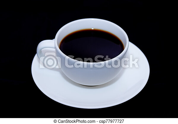 White cup of coffee on black background - csp77977727
