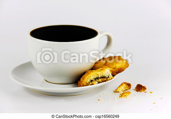 white cup of coffee with cookies - csp16560249