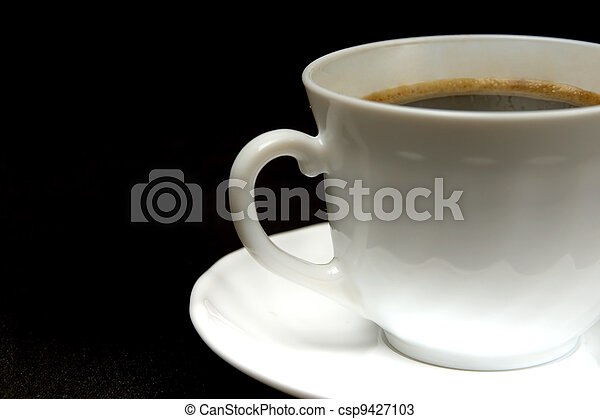white cup of hot black coffee on a dark background - csp9427103