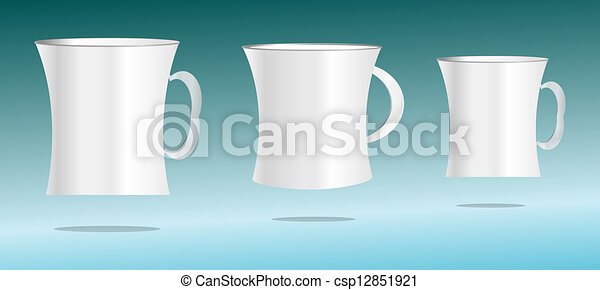 white cup set on abstract 3d background - csp12851921