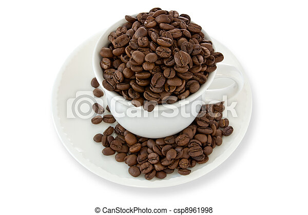 white cup with coffee beans - csp8961998