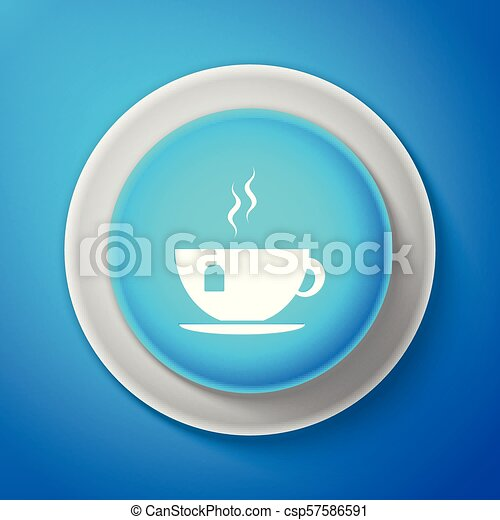 White Cup with tea bag icon isolated on blue background. Circle blue button with white line. Vector Illustration - csp57586591