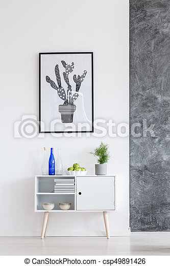 White cupboard in bright room - csp49891426