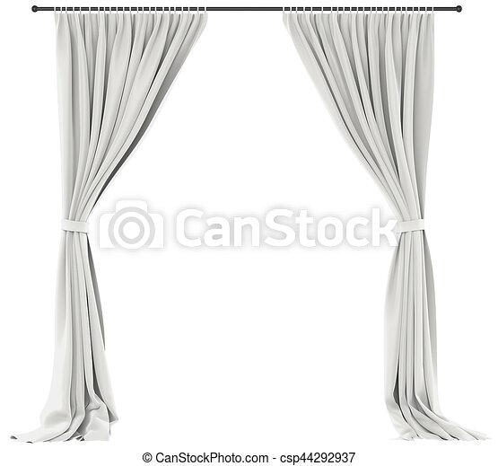 White curtains isolated. White curtains isolated on white