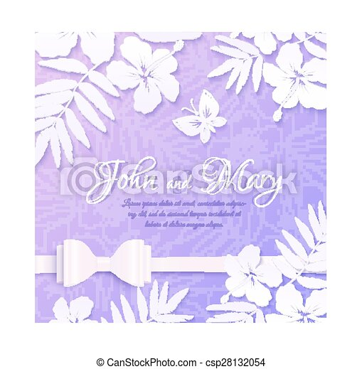 White Cutout Paper Tropical Flowers On Purple Background Wedding Card Template Vector