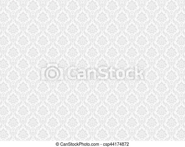 White Damask Pattern Background
