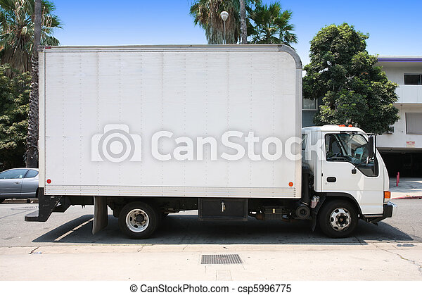 White delivery truck in suburb street. - csp5996775